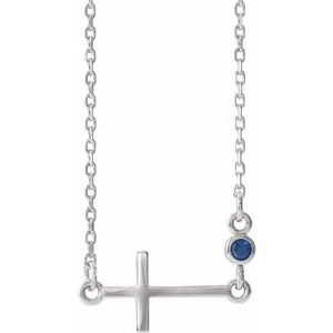 "14K White Blue Sapphire Sideways Accented Cross 16-18"" Necklace"