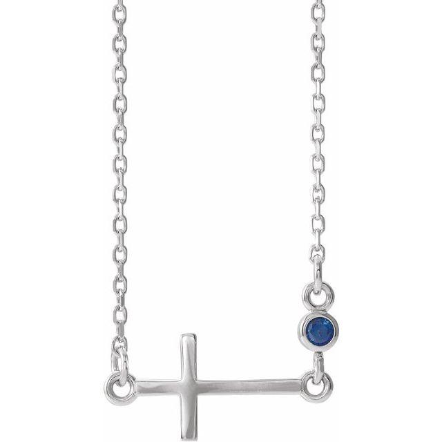 14K White Blue Sapphire Sideways Cross 16-18