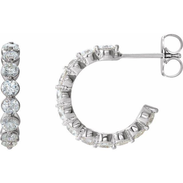 14K White 1 3/8 CTW Diamond 16.5 mm Huggies