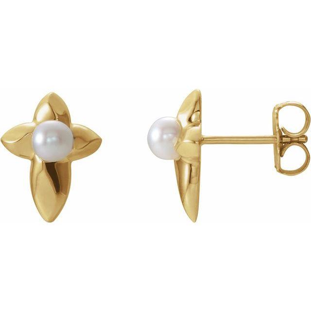 14K Yellow Freshwater Cultured Pearl Cross Earrings