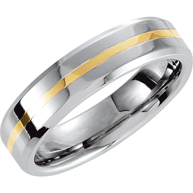 Cobalt 6 mm Beveled Band with 14K Yellow Inlay Size 7