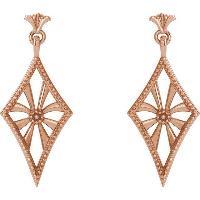 14K Rose Vintage-Inspired Dangle Earrings
