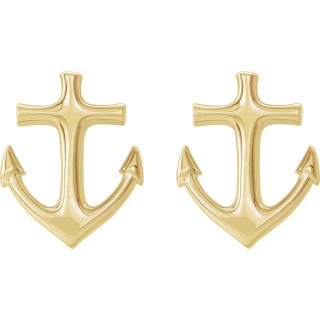 14K Yellow Anchor Earrings