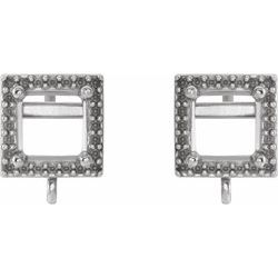 Square 4-Prong Halo-Style Earring with Jump Ring