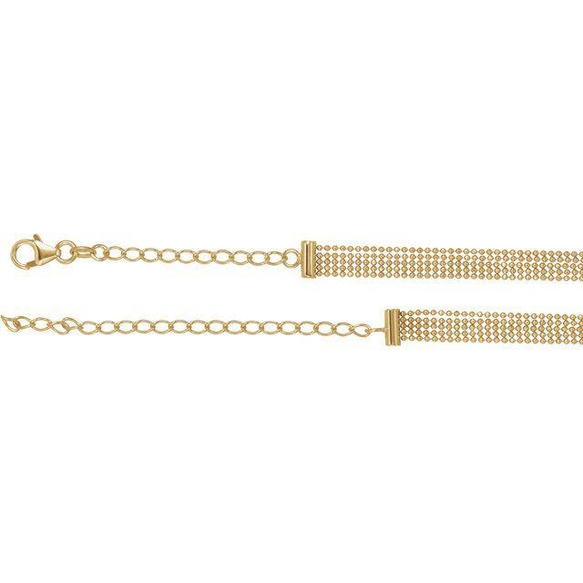 14K Yellow 5-Strand Bead Chain 13-16