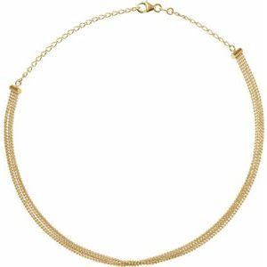"""14K Yellow 5-Strand Bead Chain 13-16"""" Choker"""