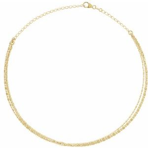 "14K Yellow 3-Strand Bead Chain 13-16"" Choker"