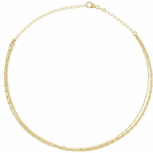14K Yellow 3-Strand Bead Chain 13-16