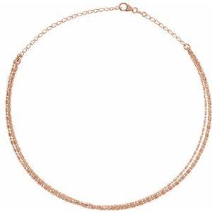 "14K Rose 3-Strand Bead Chain 13-16"" Choker"