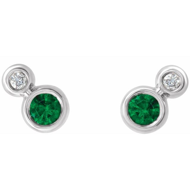 Sterling Silver Lab-Grown Emerald & .03 CTW Diamond Earrings