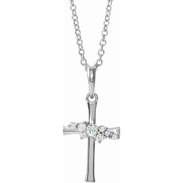 14K White .06 CTW Diamond Cluster Cross 16-18