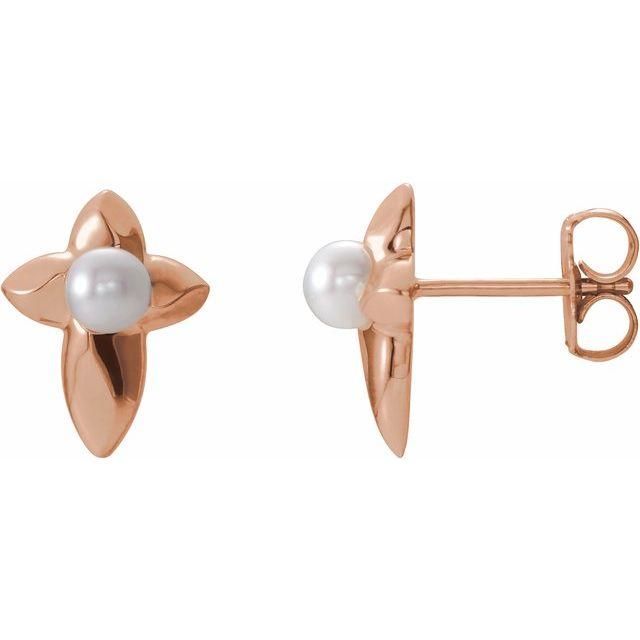 14K Rose Freshwater Cultured Pearl Cross Earrings