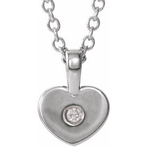 "Sterling Silver .01 CT Diamond Youth Heart 16"" Necklace"