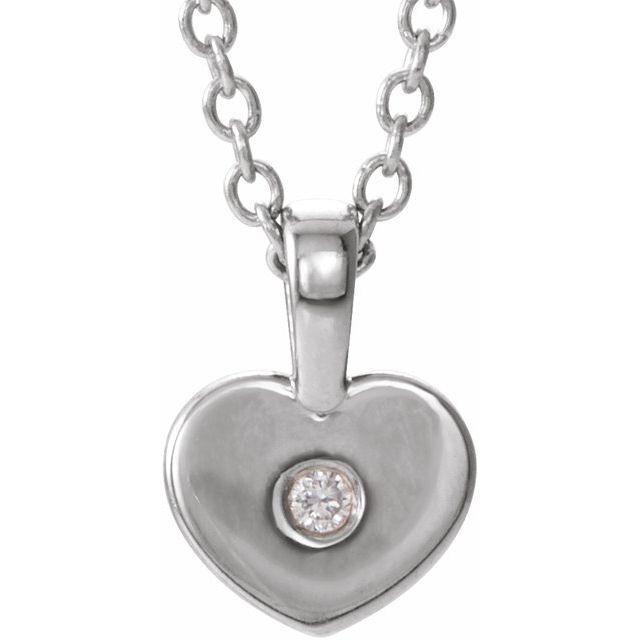 14K White .01 CT Diamond Youth Heart 16