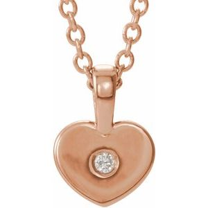 "14K Rose .01 CT Diamond Youth Heart 16"" Necklace"