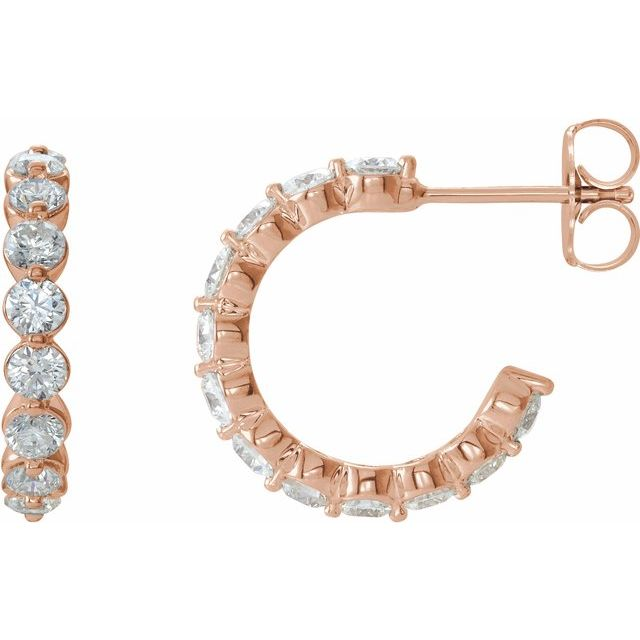 14K Rose 1 3/8 CTW Diamond 16.5 mm Huggie Earrings