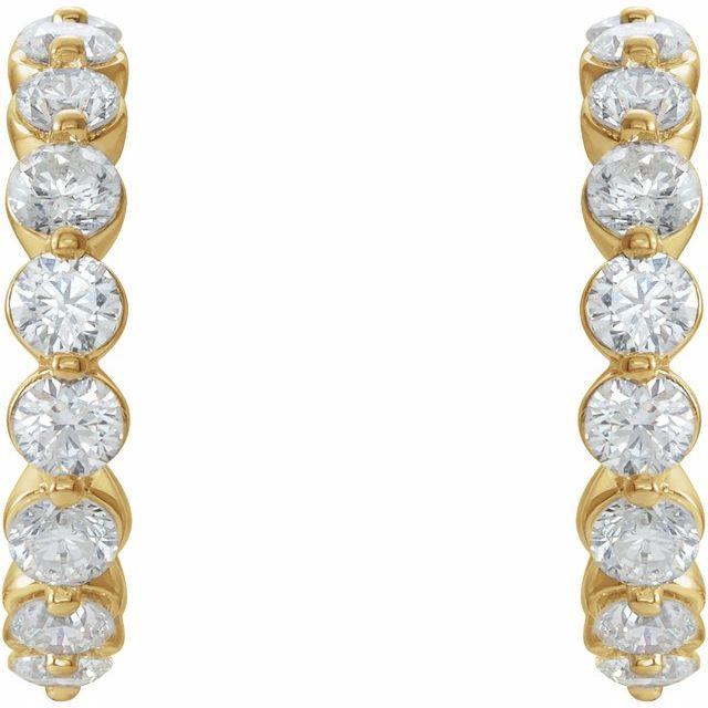 14K Yellow 1 3/8 CTW Diamond 16.5 mm Huggie Earrings