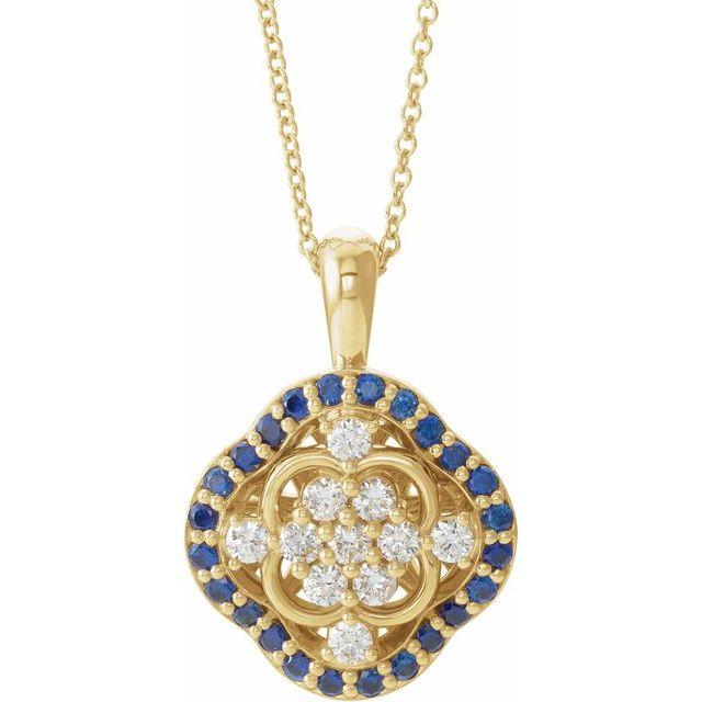 14K Yellow Blue Sapphire & 1/3 CTW Diamond 16-18