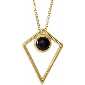 "14K Yellow Onyx Cabochon Pyramid 24"" Necklace"