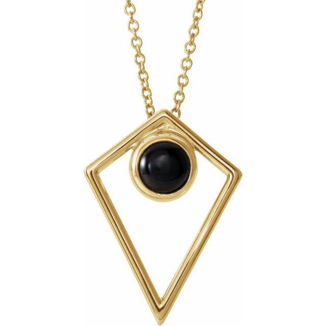 14K Yellow Onyx Cabochon Pyramid 16-18