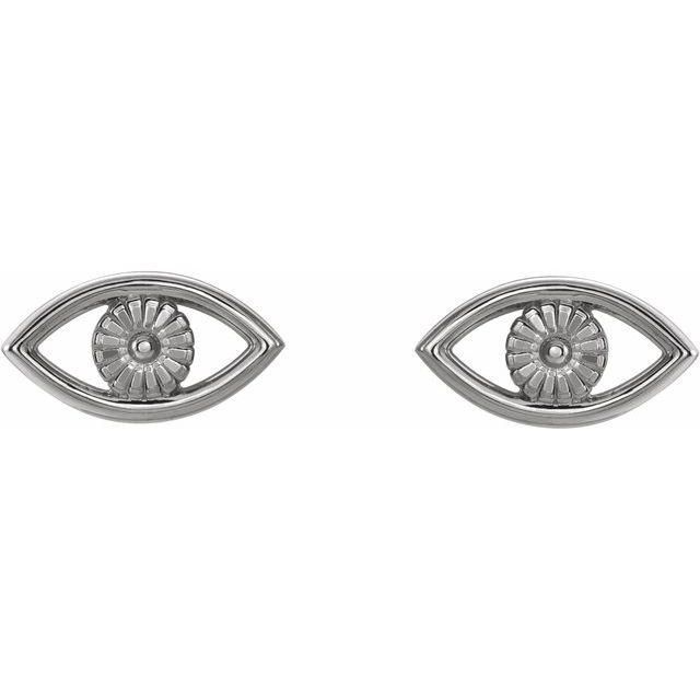 14K White Evil Eye Earrings