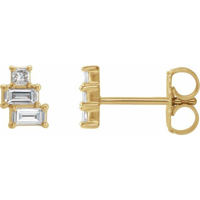 14K Yellow 1/4 CTW Diamond Geometric Cluster Earrings