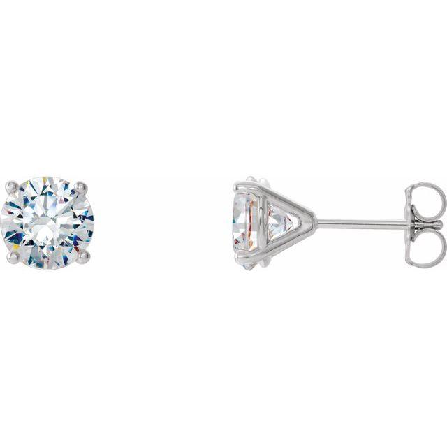 14K White 1 CTW Lab-Grown Diamond 4-Prong Stud Earrings