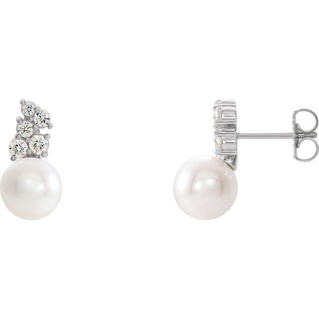 14K White Freshwater Cultured Pearl & 3/8 CTW Diamond Earrings