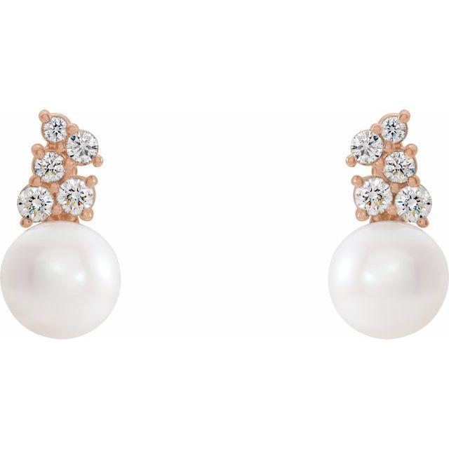 14K Rose Freshwater Cultured Pearl & 3/8 CTW Diamond Earrings