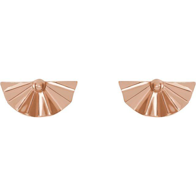 14K Rose Geometric Earrings