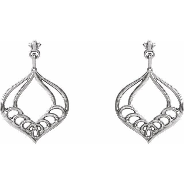 14K White Vintage-Inspired Dangle Earrings