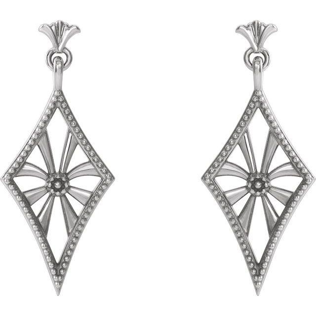 Platinum Vintage-Inspired Dangle Earrings