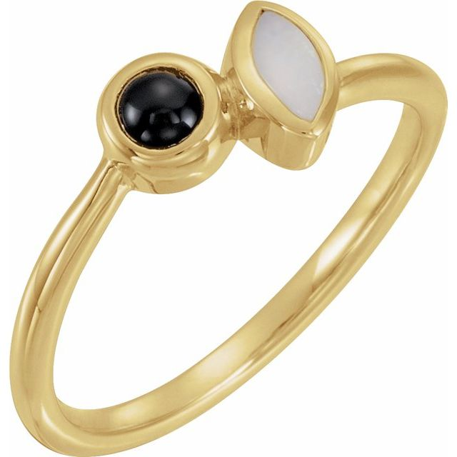 14K Yellow Opal & Onyx Ring