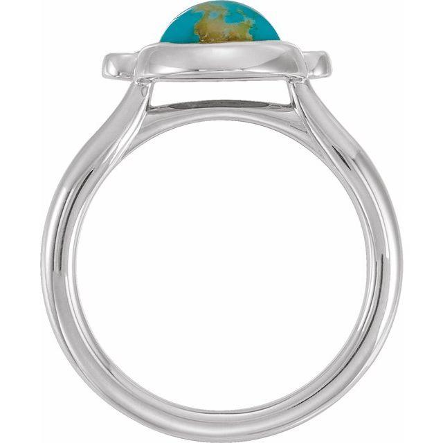 14K White Kingman Turquoise & 1/8 CTW Diamond Ring