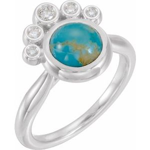 14K White Kingman Turquoise & 1/8 CTW Diamond Ring