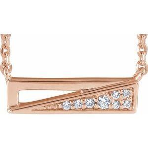 "14K Rose .05 CTW Diamond Bar 18"" Necklace"