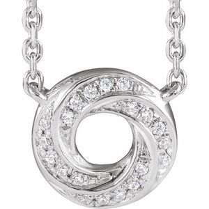 "14K White .06 CTW Diamond Geometric 18"" Necklace"