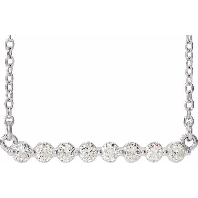 14K White 1/4 CTW Diamond Bar 16