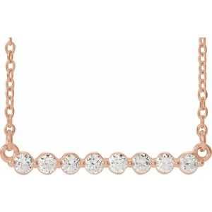 "14K Rose 1/4 CTW Diamond Bar 16"" Necklace"