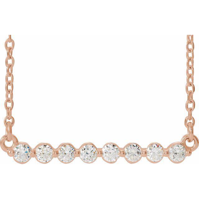 14K Rose 1/4 CTW Diamond Bar 16