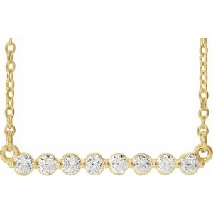 "14K Yellow 1/4 CTW Diamond Bar 18"" Necklace"