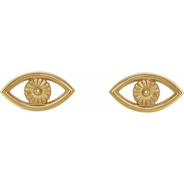14K Yellow Evil Eye Earrings