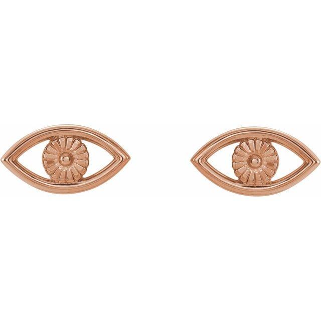 14K Rose Evil Eye Earrings