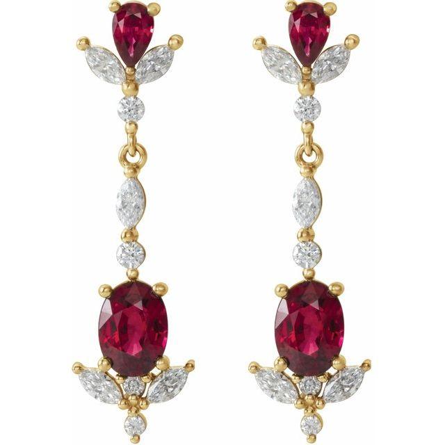 14K Yellow Ruby & 3/4 CTW Diamond Dangle Earrings