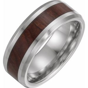 Cobalt 8 mm Beveled-Edge Band with Wood Inlay Size 13.5