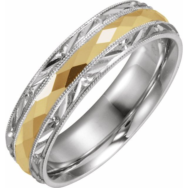 14K White/Yellow 6 mm Design-Engraved Band with Milgrain Size 10.5