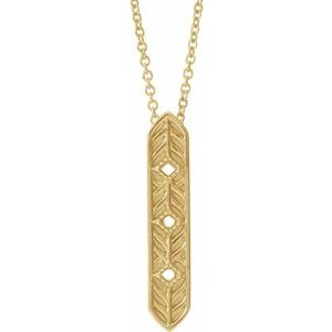 "14K Yellow Vintage-Inspired Vertical Bar 16"" Necklace"