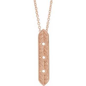 """14K Rose Vintage-Inspired Vertical Bar 18"""" Necklace"""