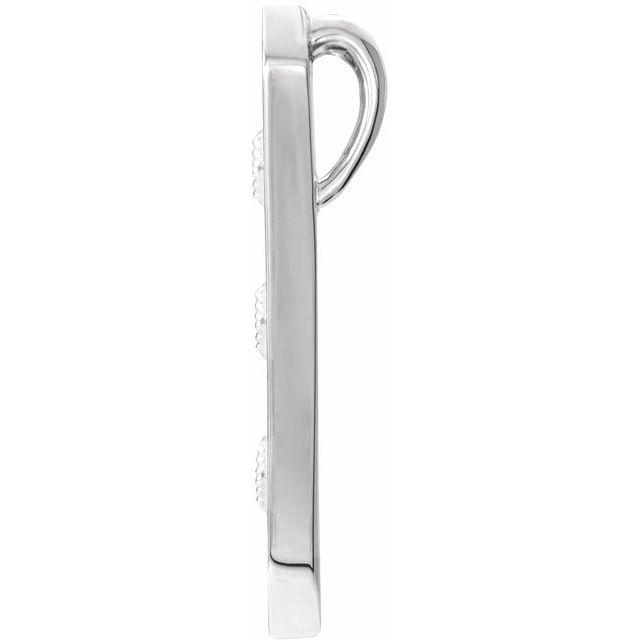 14K White Vintage-Inspired Vertical Bar Pendant