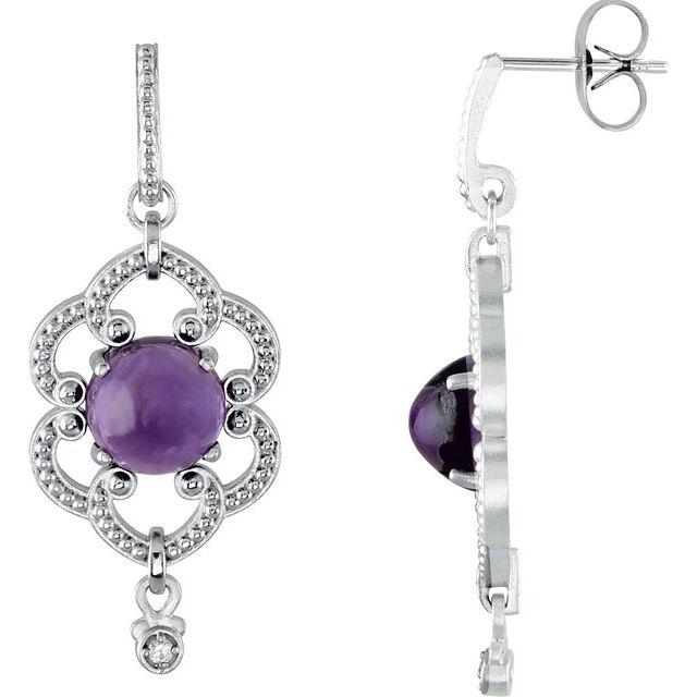 Sterling Silver Amethyst & .03 CTW Diamond Granulated Earrings